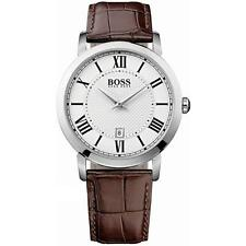 Hugo Boss Black Mens Brown Leather Strap Date Watch 1513136 - Grade A