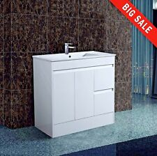 Gloss White Handless 900mm Water Proof Cloakroom Bathroom Vanity Unit Basin