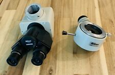 "Nikon ""F"" Trinocular Microscope Head & Illuminator & HWF 10X Widefield Eyepieces"