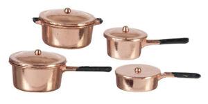 Miniature Dollhouse Copper Pot Pots Pans Set 1:12 Scale New