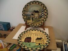 """2 Pat Fischer, signed, Houses & Lake? Scene With Light House Each 11 1/2"""" Round"""
