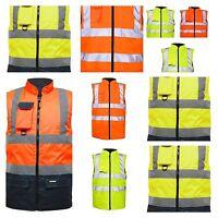 Hi Viz Reversible Bodywarmer -Waterproof Jacket Warm Mens Coat Workwear Security