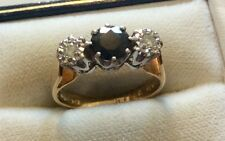 Beautiful Ladies Full Hallmarked Vintage Solid 18ct Gold Diamond & Sapphire Ring