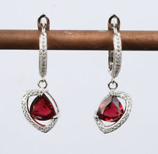 Solid Sterling Silver Earrings #59600 Double Colors New Style Ruby .925