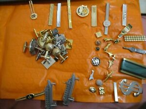 lot cuff links tie tacks pins money clips sterling HELLER Golf Ship Airplanes