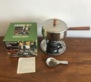 Genuine Vintage Fondue Set Original Box Stainless Steel Retro 1960s - 70s