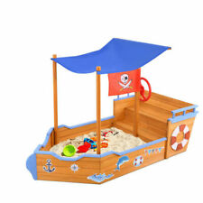 Keezi BOAT-160-CANOPY Pirate Ship Sand Pit With Canopy - Natural wood