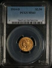 PCGS 1914 D MS 61 G$2.5 Two & A Half Dollar Gold Indian Quarter Eagle Coin