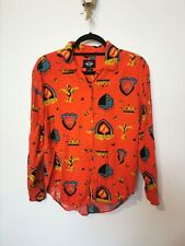 Vintage S Red DOCKERS Pattern Shirt Bright Shield Crown Retro Design Small XS