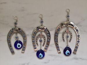 Anatolian Horseshoes,Turkish Glass Evil Eye Wall Hanging, Luck Charm, Nazar