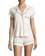 Eberjey Gisele Short PJ Shortie Pajama Set in Ivory Cream ~ Top M ~Shorts S