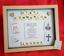 PERSONALISED HOLY COMMUNION GIFT PICTURE FRAME KEEPSAKE BOY GIRL PLAQUE CHURCH