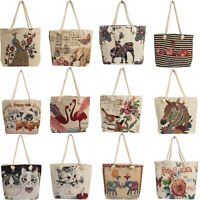 Ladies Beach Bags Tote Shopping Unicorn Flamingo Owl Horse Canvas Shoulder Bag