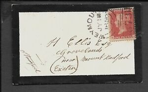 DORSET 1856 MORNING COVER 1d STARS WEYMOUTH 873 EXETER CDS