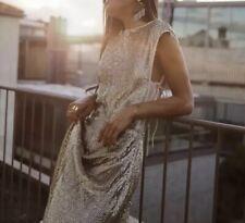 H&M HM SS19 Conscious Collection Exclusive beige sequined dress Eu 42 Uk 14