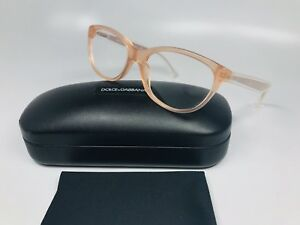 🔸New Dolce & Gabbana DG3141 2587 Transparent Peach Eyeglasses 53mm with Case