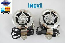 Motorcycle Speakers set of 2. ATV Boat Dirt Bike  RADIO MP3 Speaker Audio Chrome