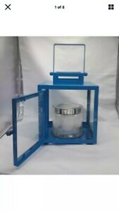 Partylite Large Blue Grecian Lantern Jar Candle Holder Only No Candle Rrp £50