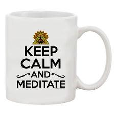 Keep Calm and Meditate Yoga Exercise Funny White Coffee 11 Oz Mug
