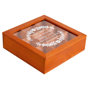 Wooden Acrylic Storage Box Retro Watch Container Jewelry Holder 6/9 Grids