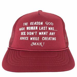 Vtg Reason God Made Woman Last Cap Funny Logo Mesh Foam Snapback Trucker Dad Hat
