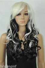 NEW-stylish black / white mixed color curly hair wig + free wig cap