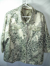 59da1b4c6f619 WOMENS BEIGE OLIVE BLACK BROWN MULTIPLES BUTTON JACKET CASUAL CAREER SIZE  1X 52