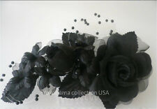 Japanese Kumi Bridal Spray Organza Black Flower W/Azar Pearls Hair Ornament