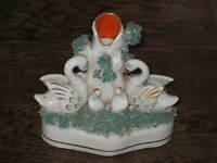 EARLY TO MID 19C STAFFORDSHIRE FIGURAL SPILL VASE SWANS CYGNETS