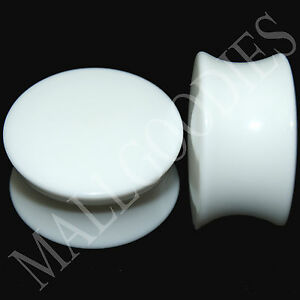 """0445 Double Flare Saddle Solid White Acrylic Ear Plugs Earlets 3/4"""" Inch 20mm"""