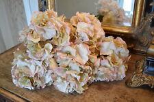 Bunch of 5 Pretty Antique Peach Hydrangeas, Artificial Luxury Faux Silk Flowers