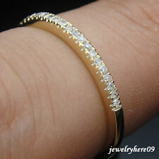 Engagement Wedding Anniversary Diamond Real  Band Ring Solid 14K Yellow Gold