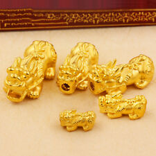 1PCS Pure 999 24K Yellow Gold 3D Lucky Coin 貔貅 PIXIU Bead  Pendant /2.8g