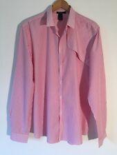 Filippa K hombre 100% Algodón Rojo y Blanco a Rayas Casual camisa tamaño XL/54 £ 140