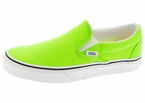 Men Vans Classic Slip On Skate Shoes Neon Gecko Green White Black