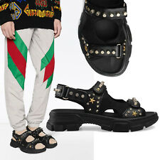 GUCCI SHOES MENS BLACK LEATHER SNEAKERS STUDDED SANDALS $1,150 7G US 7.5