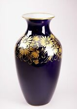 """Hutschenreuther 9"""" Tall Porcelain Gold Overlay Cobalt Kobalt Floral Vase"""