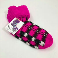 NWT Snoozies Bright Pink Cuffed Slippers Non Skid US Size M 5-10
