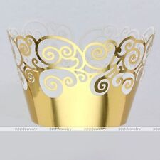 12Pcs Cupcake Wrappers Wraps Wedding Party Favor Baby Shower Decor Cupcake Gold