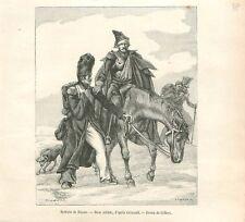 Retraite de Russie Soldats de la Grande Armée de Napoléon Géricault GRAVURE 1888