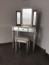 Venetian Mirrored Dressing Table Mirror & Stool With Antique Silver Trim