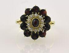 Perlen, Granat Ring 585 14K Gelbgold