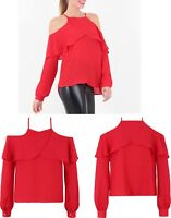 New Women's Red Cold Shoulder Long Sleeves Smart Casual Ruffled Top
