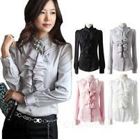Hippie Shirt Womens long sleeve blouse Satin Ladies Ruffle Victorian Top Size