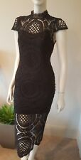Romeo + Juliet lace black pencil fitted dress short sleeves sz S-M 4 NWT $175