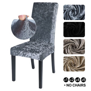 Crushed Velvet Stretch Dining Chair Covers Protective Slipcover Comfy Decor`