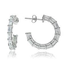 Sterling Silver Baguette Cubic Zirconia Half Hoop Earrings