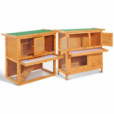 2-tier Rabbit Hutch Small Animal Wooden Bunnies House Outdoor Backyard 2 Sizes