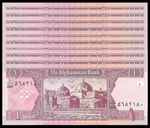 AFGHANISTAN 1 AFGHANI 2002 P 64 UNC (10 PCS)
