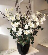 Artificial Flower Arrangement, Cream Orchid, Twig, Ivy Display, Ceramic Pot